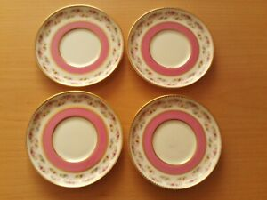 Vintage X4 Aynsley Bone China Saucers Pink With Floral Design.