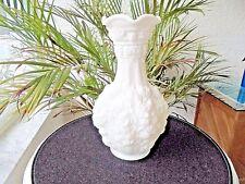 "Imperial Glass Loganberry #477 White Satin 10"" Vase Signed"