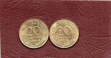 LOT DE 2 PIECES DE 20 CENTIMES MARIANNE 1994 ABEILLE + 1994 DAUPHIN