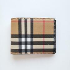 Burberry Tartan Check Canvas and Leather Men's Bi-Fold Slim Wallet Beige   $330