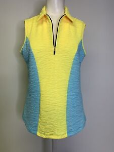 Jamie Sadock M Sleeveless Golf 1/4 Zip Tank Top Shirt Yellow Blue NWT $90 Medium