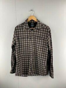 Joe Joseph Abboud Mens Vintage Long Sleeve Shirt Size Medium Black / Brown Check