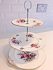 VINTAGE Bone China CAKE STAND Mismatched 3 Tier Floral ROYAL ALBERT Barbara Ann