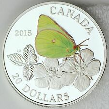 2015 $20 Butterflies of Canada: Giant Sulphur 1 oz. Pure Silver Color Proof