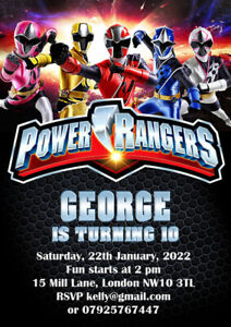 10 x Power Rangers Personalised Birthday Party Invitations