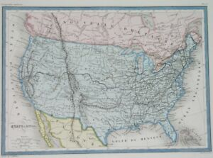 1867 ORIGINAL MAP UNITED STATES TEXAX CALIFORNIA OHIO GEORGIA first RAILWAYS