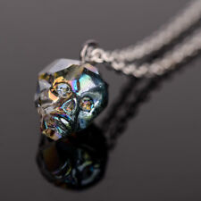 Fashion Colorful Crystal Skull Head Pendant Silver Chain Necklace Women Jewelry
