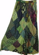 912SK~TIENDA HO~Olive~A-Line Skirt~Hippy Rayon~Diamond Patchwork~FUN~OS~m-1x?