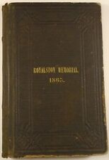 1865 ROYALSTON Massachusetts CENTENNIAL Alexander Hamilton Bullock address