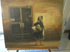 very nice RICHARD LITHGOW Signed Original Oil - LISTED Artist-Homeless Lady NYC