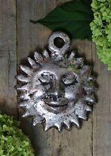 Silver Sun Face Handmade Clay Wall Ornament by Rafael Pineda Mexican Folk Art