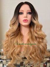 golden blonde Mix lace front wig Ombre Dark Roots Wavy Layered Heat Resistant Ok