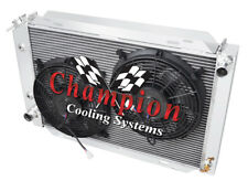 """2 Row Ace Champion Radiator W/ 2 12"""" Fans for 1979 - 1993 Ford Mustang"""