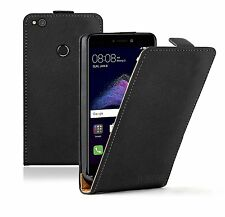 Huawei P8 Lite (2017) Ultra Slim BLACK Leather Flip Case Cover Pouch