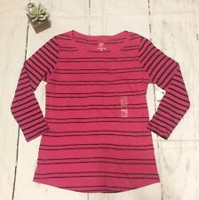 Crown And Ivy Authentic T Tee Pink & Navy Striped Long Sleeve Womens Petite S