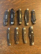 Used Antique Pocket Knife Lot Of 9