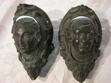 PAIRE D'ANCIENS MASCARONS de BILLARD en BRONZE XIXème coin bouche dégueuloir