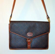 Bally Signature Shoulder Bag Purse Vintage Flap Style Brown Leather Chain Detail