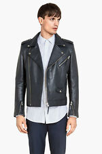 H&M Real Leather Biker Jacket Premium Navy Blue Croc 44R Large All Saint Koople