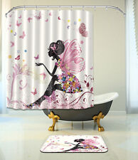 "Butterfly Angel Bathroom Mat Waterproof Polyester Fabric Shower Curtain 72"" 130"