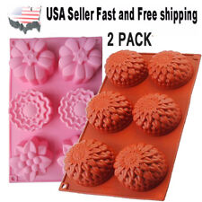 2 PACK Chrysanthemum & Mixed Flower Silicone DIY Handmade Soap Mold US Seller
