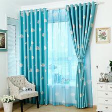 100x250cm Clouds Design Door Window Curtain Screen Sheer Valance Voile Blue