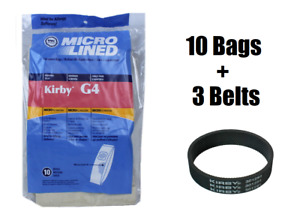 10 Kirby Micron Bags for G3 G4 G5 G6 G7 H2 Ultimate Vacuum + 3 Belts by DVC