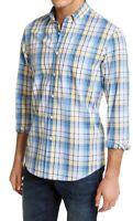 Club Room Mens Shirt Blue Yellow Size 2XL Plaid Long Sleeve Button Down $55 249