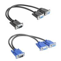 VGA Splitter Cable 1 Computer to Dual 2 Monitor Male to Female Adapter Wire