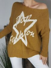 NEU ITALY LEGERER LONG PULLI MOHAIR&WOLLE OVERSIZE POP STAR STERN CURRY 38-44