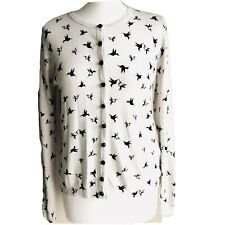 Marks & Spencer Collection Crème Marine Oiseaux Motif Cardigan Taille 10