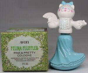 Vintage AVON Felina Fluffles Pink & Pretty Cologne Cat Decanter 2oz Full Bottle