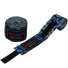 AQWA Hand Wraps Bandages Fist Boxing Inner Gloves MMA Cotton 4.5m Long Camo Blue