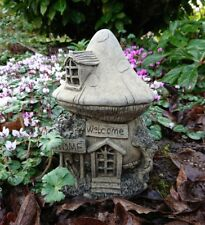 STONE GARDEN TOADSTOOL MUSHROOM WELCOME FAIRY HOUSE / COTTAGE ORNAMENT