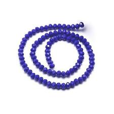 Czech Crystal Opaque Glass Faceted Rondelle Beads 4 x 6mm Dark Blue 80+ Pcs
