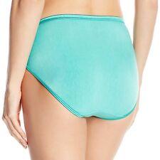 "Size 7 Vanity Fair Hi-Cut Briefs Panties 13108 Green ""Eve's Garden"" NEW Silky"