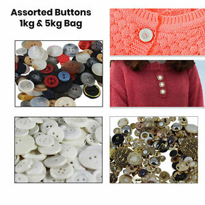 Mixed Crafting Buttons Assorted Plastic Buttons Multicolour Crafts Cloth JOBLOT