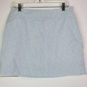Adidas Golf Womens Striped ClimaCool White Blue Skort Size 6 Tennis Pockets
