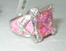 PINK Square CZ RING Cubic Zirconia Leather 925 Sterling Size 5-6 $99 Retail  NWT
