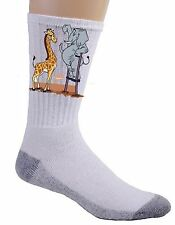 Elephant Stilts Standing Giraffe Funny Cartoon Crew Socks Pair Soft Feet