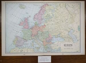 "Vintage 1901 EUROPE Map 22""x14"" ~ Old Antique Original GERMANY ITALY SPAIN UK EU"
