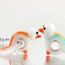 European charm bead - Murano Glass Lampwork Animal pastel rainbow tail bird