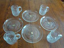 Vintage Luminarc USA & Matching Arcoroc Snowtime Glass Mugs & Plates