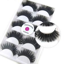 LASGOOS Real Mink 3D False Eyelashes Reusable Long Thick Cross Lashes 5Pairs