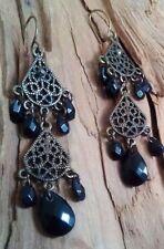 Onyx Pear Stone Costume Earrings