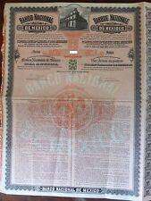 "MEXICO Très rare action ""umbrella"" BANCO NATIONAL DE MEXICO 1906 100 pesos bond"