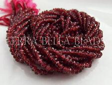 "12.5"" strand GARNET faceted hand cut rondelle gem stone beads 3mm - 3.5mm red"