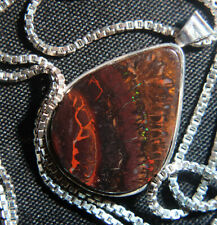 Sterling Necklace with Bold and Unique Natural australian boulder Opal