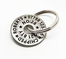 More details for funky small pet dog id disc name tag tags- stainless steel personalised engraved