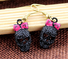 New Betsey Johnson fashion Black skull head earrings N392